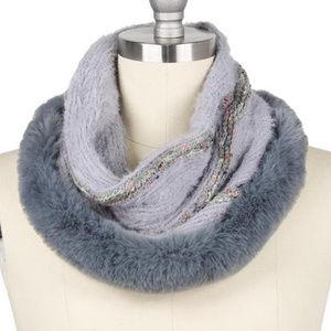 Fur Trim Furry Knit Tube Scarf